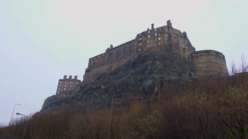 great britain : Edinburgh Castle on Castlehill in the historic district - EDINBURGH, SCOTLAND - JANUARY 10, 2020