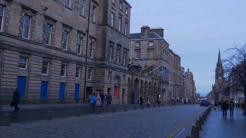 great britain : Famous Royal Mile in Edinburgh - EDINBURGH, SCOTLAND - JANUARY 10, 2020