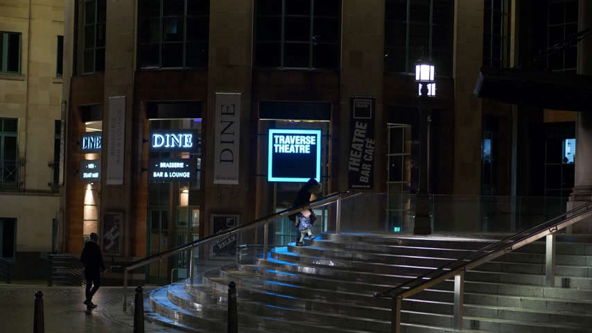 traverse : Traverse Theatre in Edinburgh at night - EDINBURGH, SCOTLAND - JANUARY 10, 2020