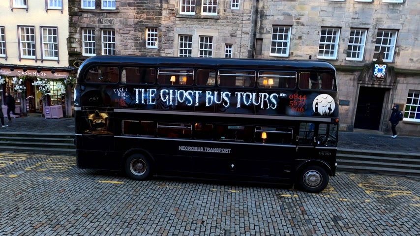 great britain : The Ghost Bus Tours in Edinburgh - EDINBURGH, UNITED KINGDOM - JANUARY 11, 2020