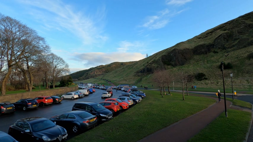 built structure : Holyrood Park and Arthur`s seat in Edinburgh - EDINBURGH, UNITED KINGDOM - JANUARY 11, 2020