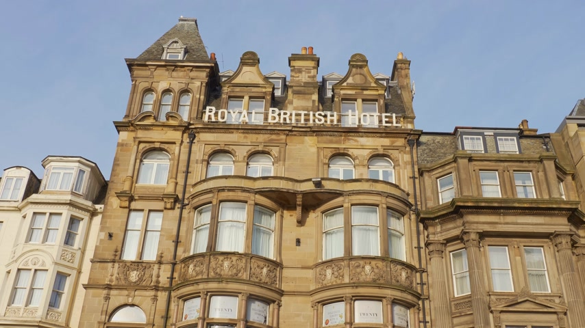 národní památka : Royal British Hotel in Edinburgh - EDINBURGH, SCOTLAND - JANUARY 10, 2020