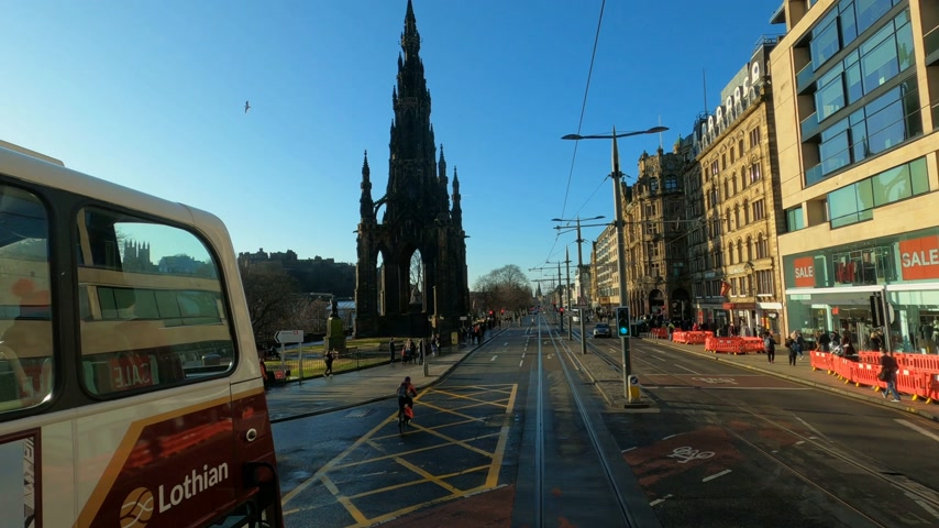 built structure : Driving through Princes street in Edinburgh - EDINBURGH, UNITED KINGDOM - JANUARY 11, 2020