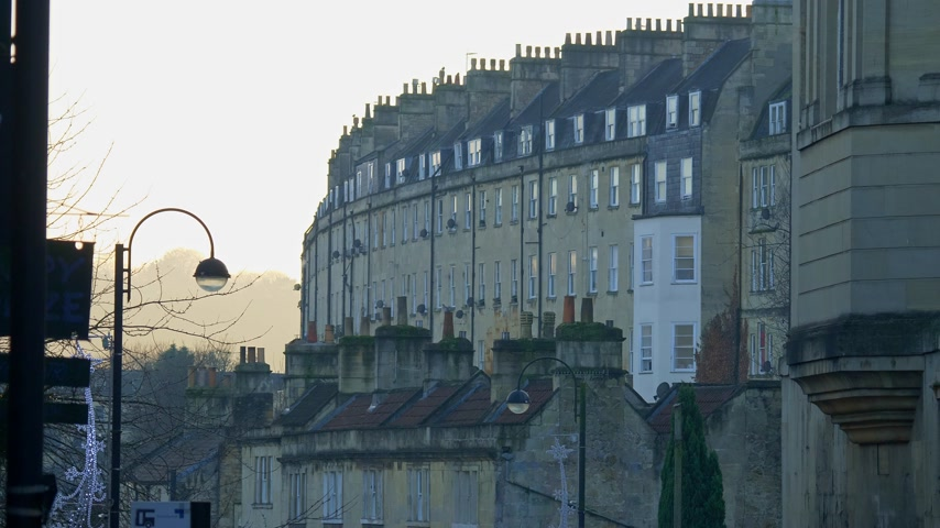 典型的な : Typical townhouses in Bath England - BATH, ENGLAND - DECEMBER 30, 2019
