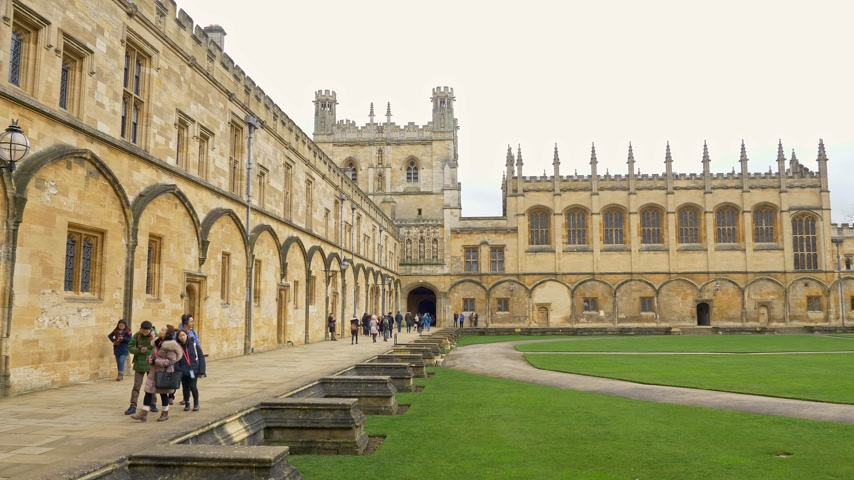 prestigious : Christ Church Cathedral and Oxford University in Oxford England - OXFORD, ENGLAND - JANUARY 3, 2020