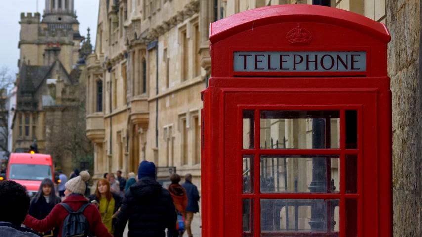 oxfordshire : Red Telephone Booth in Oxford England - OXFORD, ENGLAND - JANUARY 3, 2020