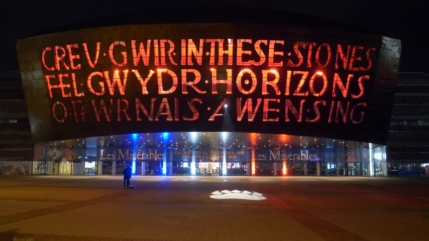 notas : Wales Millennium Centre and Donald Gordon Theatre at Cardiff at night - CARDIFF, WALES - DECEMBER 31, 2019