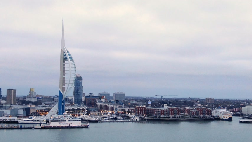dockyard : Famous Spinnaker Tower at Portsmouth - aerial view - PORTSMOUTH, ENGLAND, DECEMBER 29, 2019