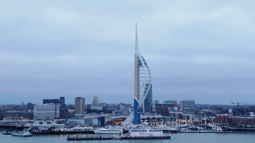 ferry terminal : Famous Spinnaker Tower at Portsmouth - aerial view - PORTSMOUTH, ENGLAND, DECEMBER 29, 2019