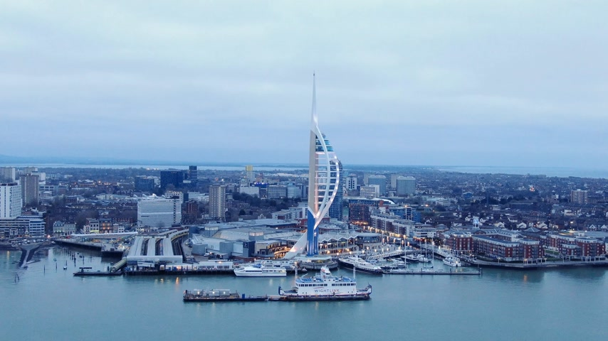 sight seeing : Harbour of Portsmouth England with famous Spinnaker Tower - aerial view - PORTSMOUTH, ENGLAND, DECEMBER 29, 2019