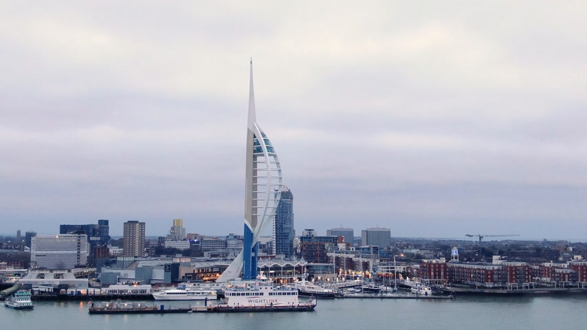 dockyard : Harbour of Portsmouth England with famous Spinnaker Tower - aerial view - PORTSMOUTH, ENGLAND, DECEMBER 29, 2019