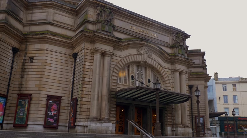İskoçyalı : Usher Hall is a famous venue in Edinburgh - EDINBURGH, SCOTLAND - JANUARY 10, 2020 Stok Video