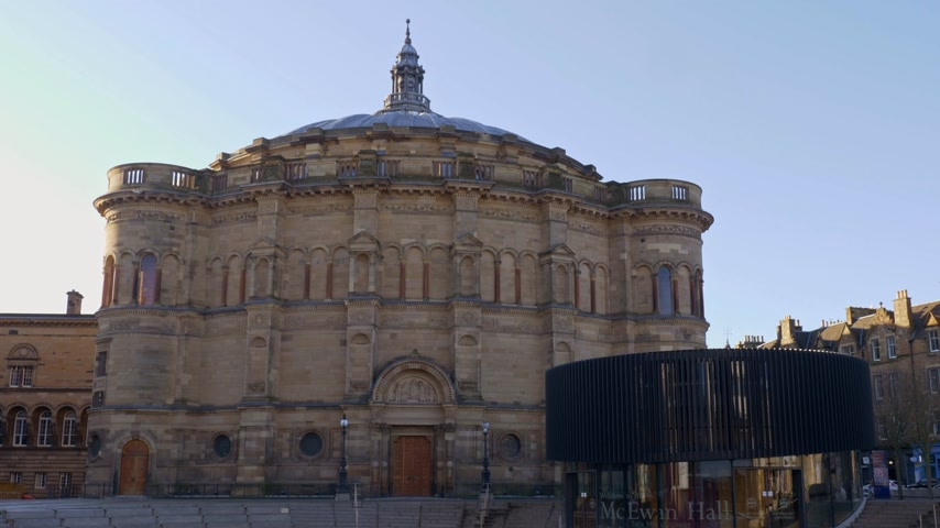 İskoçyalı : University of Edinburgh - McEwan Hall - EDINBURGH, SCOTLAND - JANUARY 10, 2020 Stok Video