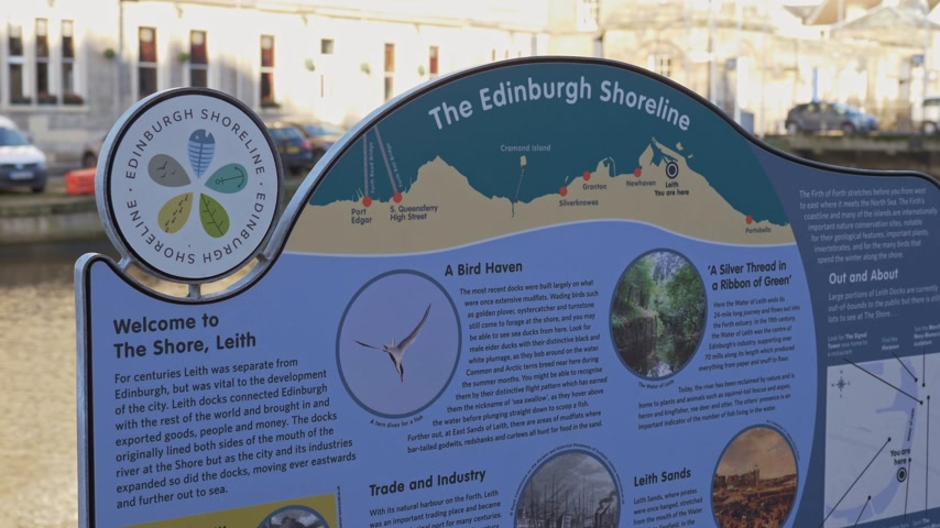 The Edinburgh Shoreline in Leith - EDINBURGH, SCOTLAND - JANUARY 10, 2020 Stock Footage