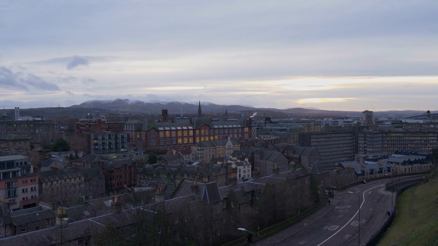 Aerial view over the city of Edinburgh in the evening - EDINBURGH, SCOTLAND - JANUARY 10, 2020