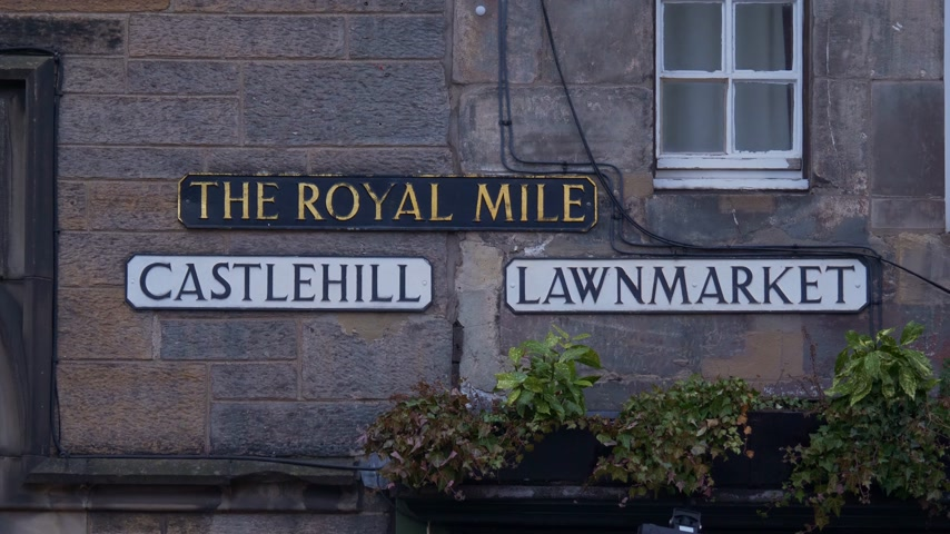 Street signs on the Royal Mile in Edinburgh - EDINBURGH, SCOTLAND - JANUARY 10, 2020