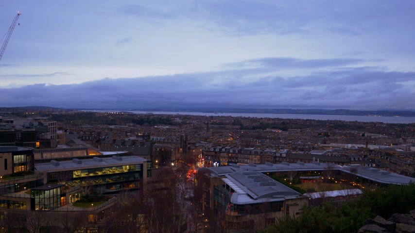Amazing view over Edinburgh from Calton Hill in the evening - EDINBURGH, SCOTLAND - JANUARY 10, 2020