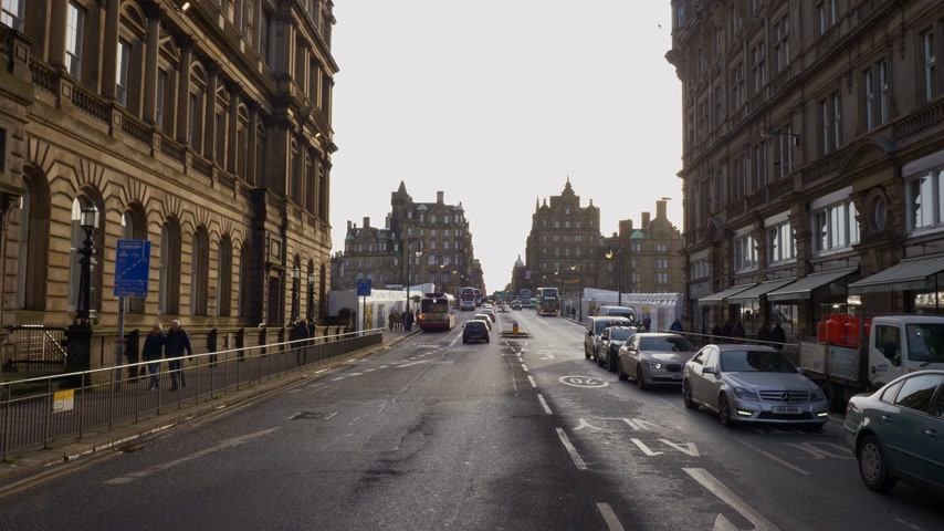 Street view Princes Street Edinburgh - Edinburgh, Schotland - 10 januari 2020
