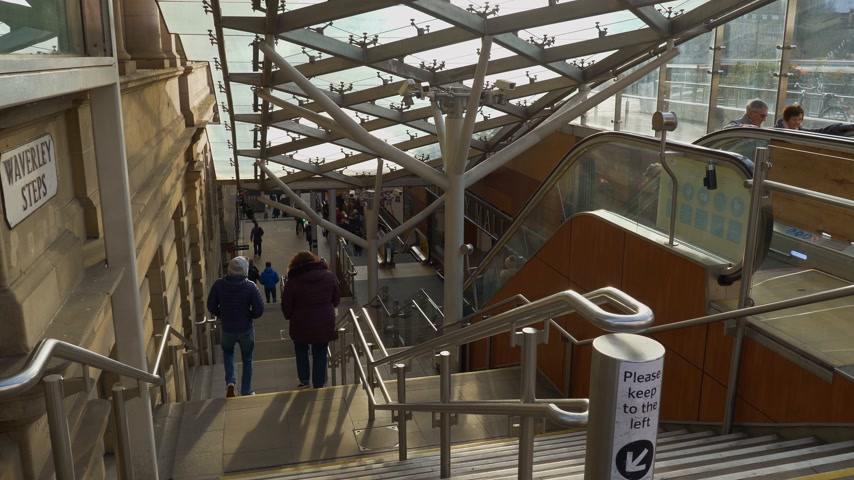 Edinburgh Waverly railway station - EDINBURGH, SCOTLAND - JANUARY 10, 2020