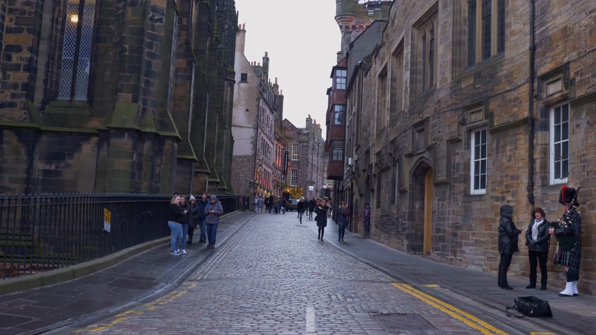Royal Mile street view at Castlehill in Edinburgh - EDINBURGH, SCOTLAND - JANUARY 10, 2020
