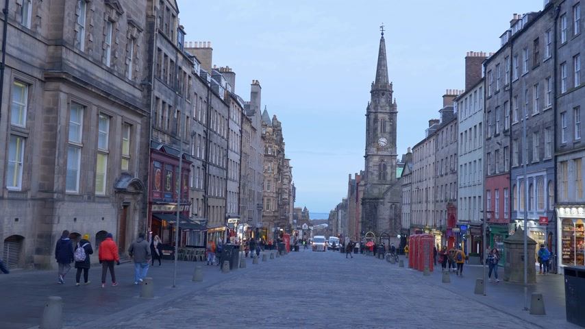 Beroemde Royal Mile in Edinburgh - Edinburgh, Schotland - 10 januari 2020