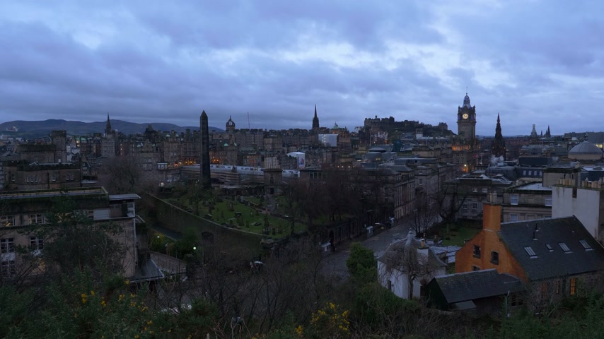 Aerial view over Edinburgh from Calton Hill - EDINBURGH, SCOTLAND - JANUARY 10, 2020 Stock Footage