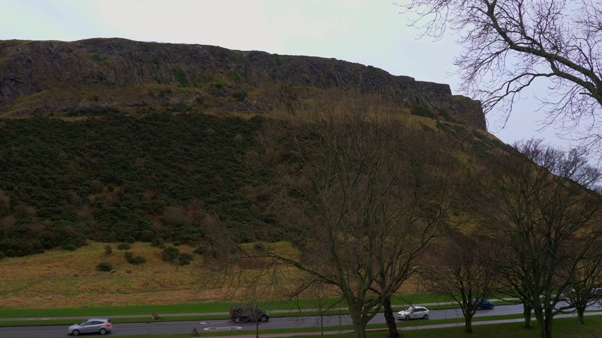 Holyrood Park in the historic district of Edinburgh - EDINBURGH, SCOTLAND - JANUARY 10, 2020