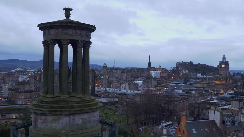 Cityscapes of Edinburgh Scotland - EDINBURGH, SCOTLAND - JANUARY 10, 2020 Stock Footage