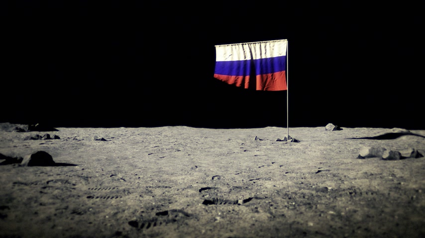 roket : Russian flag on the moon