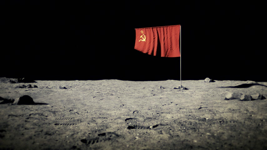 roket : USSR flag on the moon