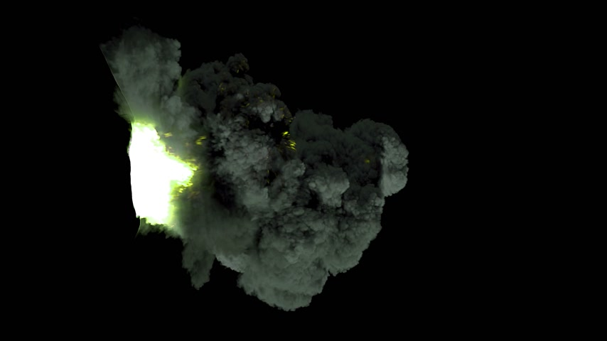 mycelium : volcano explosion 3d animation alpha channel