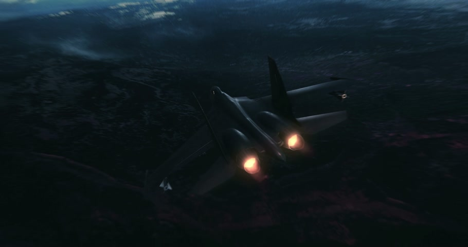 истребитель : Fighter Jet flying high above the clouds. Abstract animation design