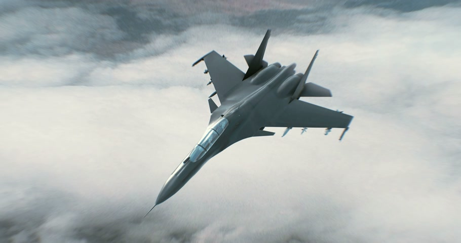 истребитель : Fighter Jet flying high above the clouds
