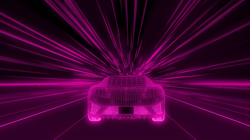 A modern sports car drives quickly through an abstract tunnel of ultraviolet light. Animation from the ultraviolet tunnel to the frame 動画素材