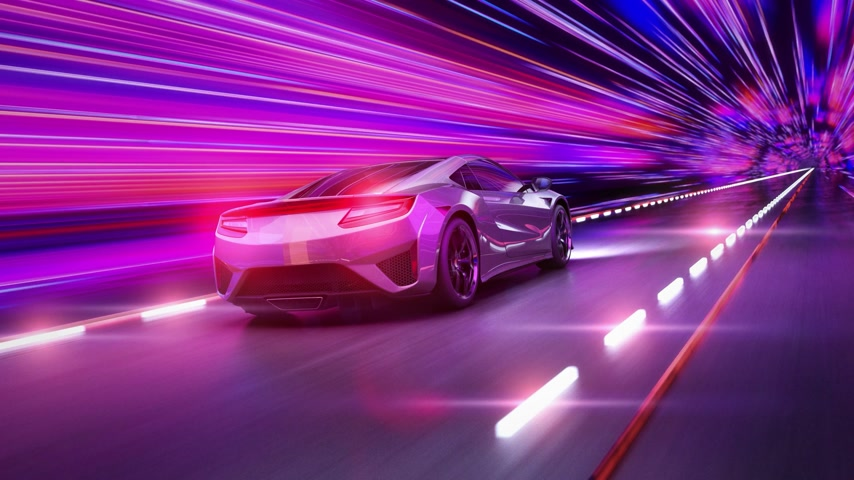 szybko : A modern sports car drives quickly through an abstract tunnel of ultraviolet light. Animation from the ultraviolet tunnel to the frame Wideo