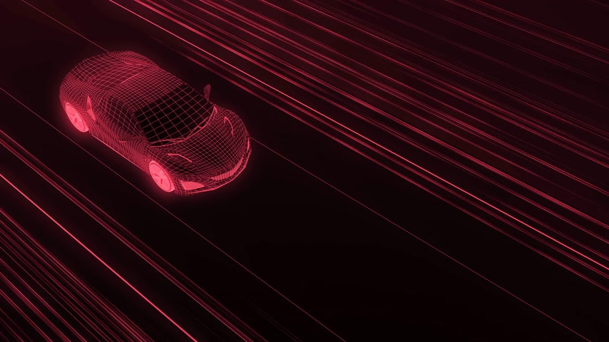 algılayıcı : A modern sports car drives quickly through an abstract tunnel of ultraviolet light. Animation from the ultraviolet tunnel to drawing. 4k video. 3d rendering