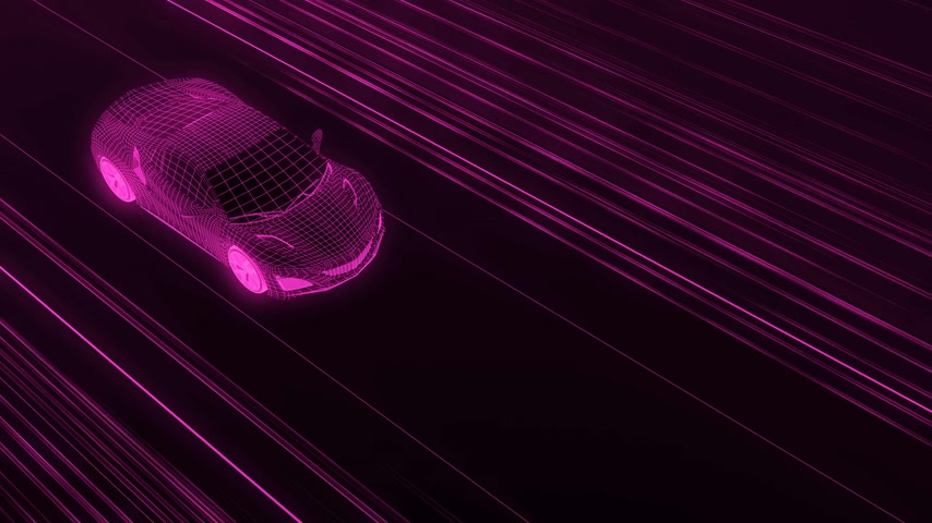 A modern sports car drives quickly through an abstract tunnel of ultraviolet light. Animation from the ultraviolet tunnel to drawing. 4k video. 3d rendering