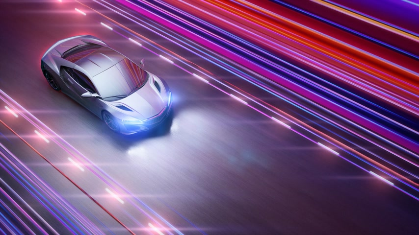 autonomous car : A modern sports car drives quickly through an abstract tunnel of ultraviolet light. Animation from the ultraviolet tunnel to drawing. 4k video. 3d rendering
