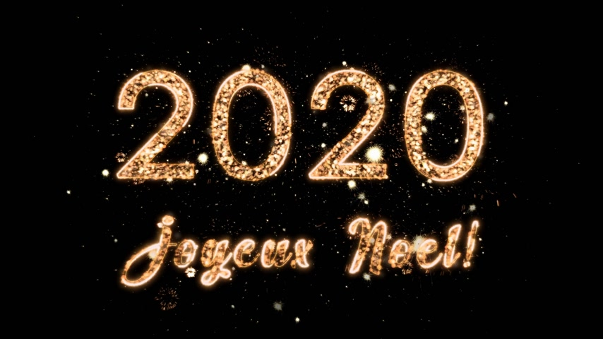 4k New Year composition with congratulations for 2020 and Merry Christmas in French. The numbers come from the magic sparks of the fireworks. Motion design. Composition on a black background with alph