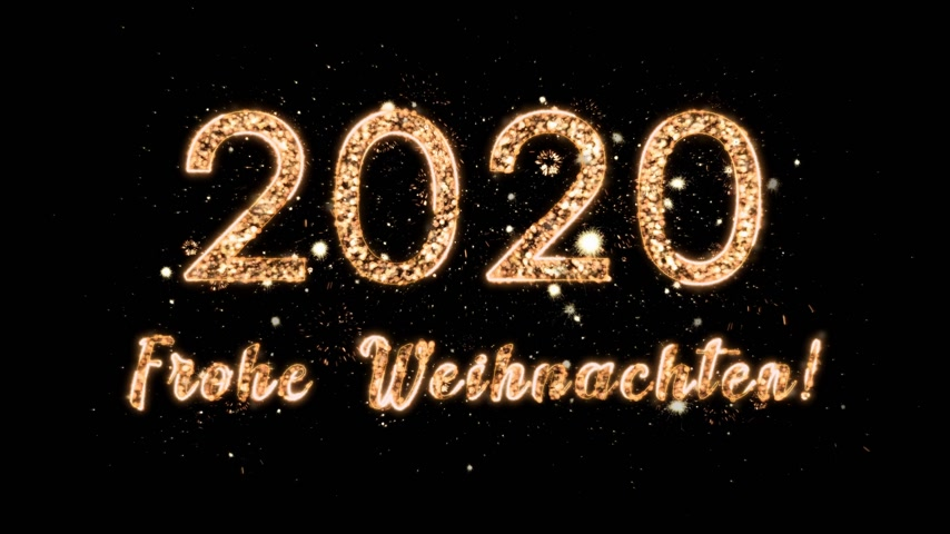 anniversary invitation : 4k New Year composition with congratulations for 2020 and merry christmas in German. The numbers come from the magic sparks of the fireworks. Motion design. Composition on a black background with alpha channel Stock Footage