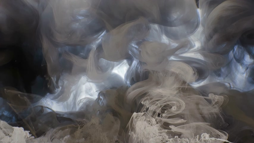 4k. A beautiful mixture of acrylic ink in water. The ink and white ink streams form abstract clouds when mixed. Acrylic clouds on a white background. Slow motion