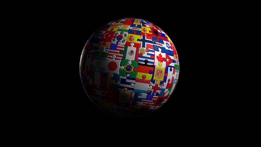nações : World made of flags, Rotating, seamless loop.