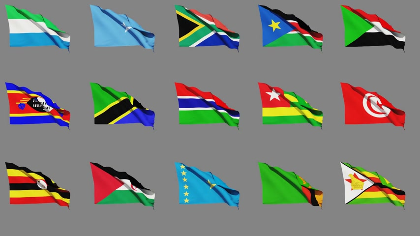 sierra leone flag : Flags Of Africa (part 4 of 4) Seamless Loop, Matte Channel Stock Footage