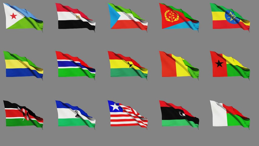 чад : Flags Of Africa (part 2 of 4) Seamless Loop, Matte Channel