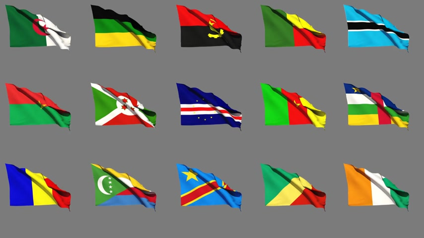 чад : Flags of Africa (part 1 of 4) Seamless Loop, Matte Channel