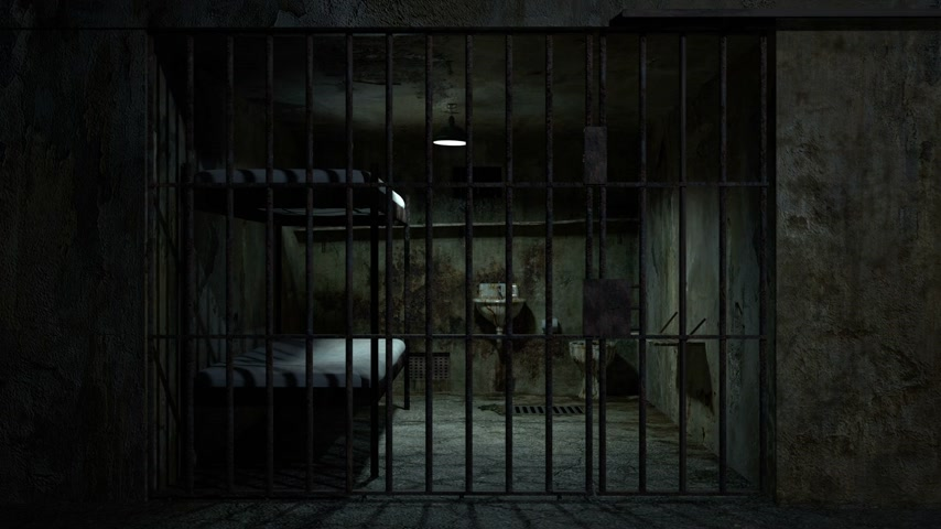 lawbreaker : Scene of a Jail with moving light animation, seamless loop.