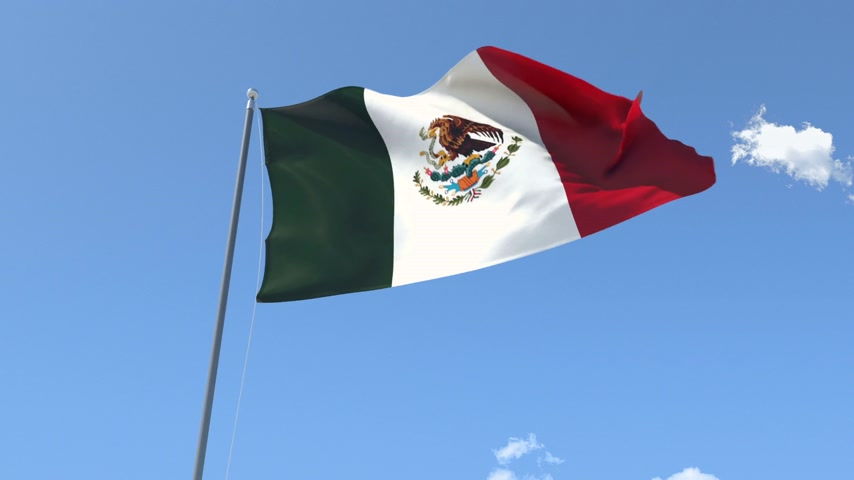 meksyk : Front Flag of Mexico , Seamless Loop, Alpha Matte available on my portfolio. Wideo