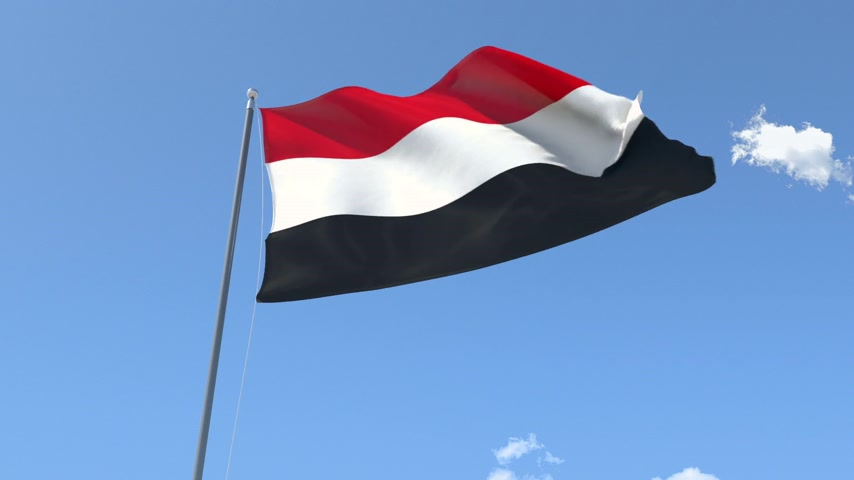 yemen : Front Flag of Yemen , Seamless Loop, Alpha Matte available on my portfolio. Stock Footage