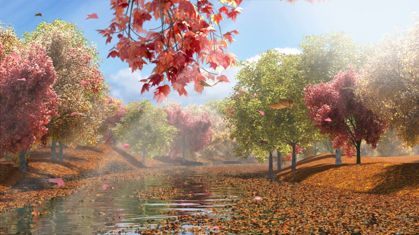 Autumn Lake, 3D rendering,