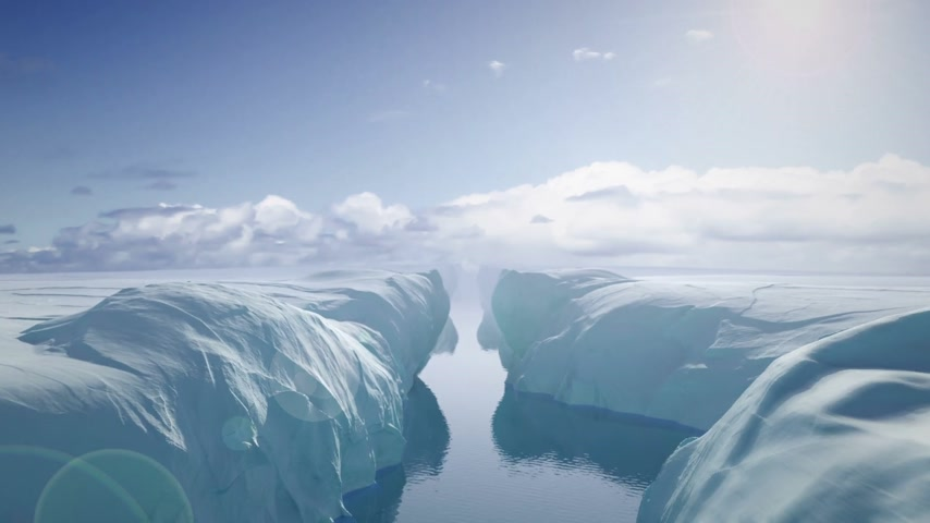 Flying Between Glaciers Stok Video